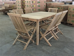 Dara Barel Teak Table 150x90cm Set w/ Shelia Folding Chair