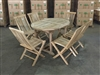 Demeling Oval Teak Table Set w/ 6 Shelia Premium Folding Chairs (120cm x 90cm - Extends to 170cm)