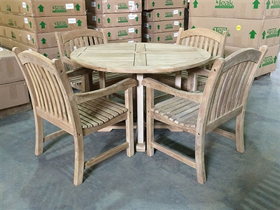 Grendel Teak Round Table 120cm set w/ 4 Sumbawa Arm Chairs