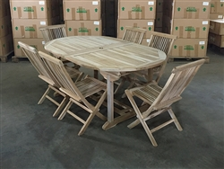 Greystone Oval Double Extension Teak Table Set w/ 6 Shelia Premium Folding Chairs (180cm x 110cm - Extends to 240cm)
