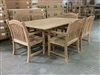 Guinebas Square Teak Table Set w/ 6 Sumbawa Arm Chairs (120cm x 120cm - Extends to 180cm)