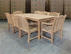 Haida Teak Rectangle Table 202 x 100cm w/ 8 Sulawesi Arm Chairs