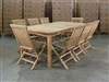 Irish Barrel Teak Table 200 x 100cm Set w/ 8 Shelia Folding Chairs