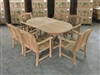 Kuwu Oval Teak Table Set w/ 6 Sumbawa Arm Chairs (170cm x 100cm - Extends to 221cm)