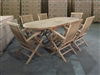 Maharani Oval Teak Table Set w/ 6 Shelia Premium Teak Folding Arm Chair (150cm x 90cm - Extends to 200cm)