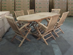 Maharani Oval Teak Table Set w/ 6 Shelia Classic Teak Folding Arm Chair (150cm x 90cm - Extends to 200cm)