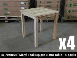 "28"" Manti Teak Square Bistro Table w/ 2 Shelia's Big Sister Folding Chairs"