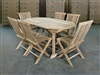 Meghan Teak Table 160 x 90cm Set w/ 6 Shelia Classic Folding Chairs