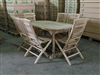 Meghan Teak Table 160 x 90cm Set w/ 6 Hampton Folding Chairs