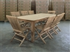 Mentari Barrel Teak Table 206 x 96cm Set w/ 8 Shelia Folding Chairs