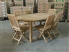 Montana Oval Teak Table 190 x 120cm Set w/ 6 Monterey Folding Chairs
