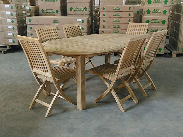 Montana Oval Teak Table 190 X 120cm Set W 6 Monterey Folding