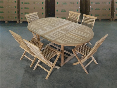 Seruni Oval Teak Table Set w/ Shelia Classic Folding Chairs (131cm x 120cm - Extends to 192cm)