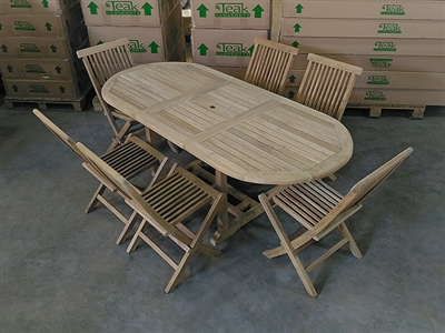 Maharani Oval Teak Table Set w/ 6 Shelia's Sister Folding Chairs (150cm x 90cm - Extends to 200cm)