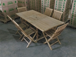 Maharani Rectangle Teak Table Set w/ 6 Shelia's Sister Folding Chairs (140cm x 80cm - Extends to 200cm)