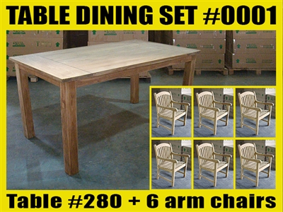 "Reclaimed 63"" Teak Table SET #0001 w/ 6 Sumbawa Arm Chairs"