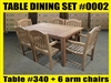Reclaimed Teak Table SET #0002 w/ 6 Sumbawa Arm Chairs