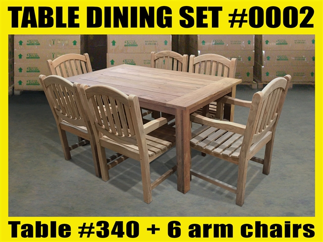 "Reclaimed 63"" Teak Table SET #0002 w/ 6 Sumbawa Arm Chairs"