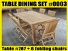 Reclaimed Teak Table #SET 0003 w/ 6 Shelia Classic Folding Chairs