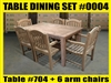 "Reclaimed 63"" Teak Table SET #0004 w/ 6 Shelia Classic Folding Chairs"