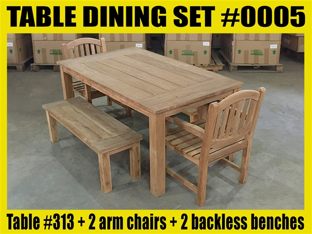 "Reclaimed 63"" Teak Table SET #0005 w/ 6 Sulawesi Arm Chairs"