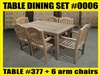 "Reclaimed 63"" Teak Table SET #0006 w/ 6 Sulawesi Arm Chairs"