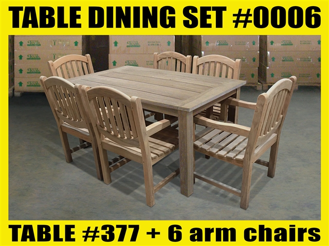 "Reclaimed 63"" Teak Table SET #0006 w/ 6 Menika Dining Chairs"
