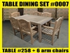 Reclaimed Teak Table SET #0007 w/ 6 Manchester Arm Chairs