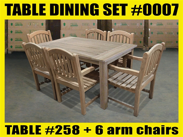 "Reclaimed 63"" Teak Table SET #0007 w/ 6 Manchester Arm Chairs"