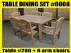 "Reclaimed 63"" Teak Table SET #0008 w/ 6 Manchester Arm Chairs"