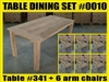 Reclaimed Teak Table SET #0010 w/ 6 Shelia Classic Folding Arm Chairs