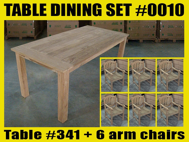 "Reclaimed 71"" Teak Table SET #0010 w/ 6 Menur Dining Chairs"