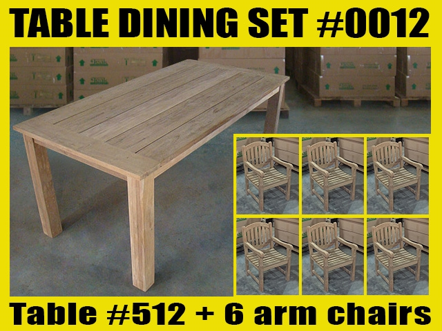 "Reclaimed 71"" Teak Table SET #0012 w/ Sulawesi Arm Chairs"