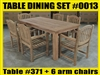 Reclaimed Teak Table SET #0013 w/ 6 Manchester Arm Chairs