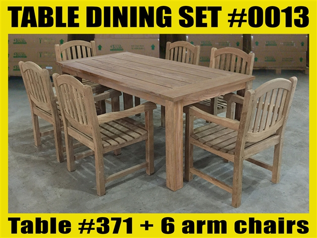 "Reclaimed 71"" Teak Table SET #0013 w/ 6 Manchester Arm Chairs"