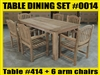 Reclaimed Teak Table SET #0014 w/ 6 Manchester Arm Chairs