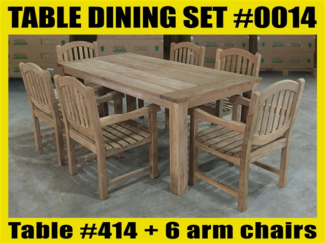 "Reclaimed 71"" Teak Table SET #0014 w/ 6 Manchester Arm Chairs"
