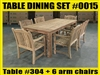 "Reclaimed 79"" Teak Table SET #0015 w/ 6 Sumbawa Arm Chairs"