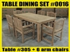 "Reclaimed 79"" Teak Table SET #0016 w/ 6 Manchester Arm Chairs"
