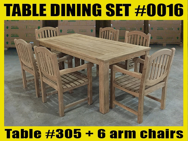 Reclaimed Teak Table SET #0016 w/ 6 Manchester Arm Chairs