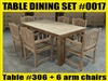 Reclaimed Teak Table SET #0017 w/ 6 Shelia Classic Folding Chairs