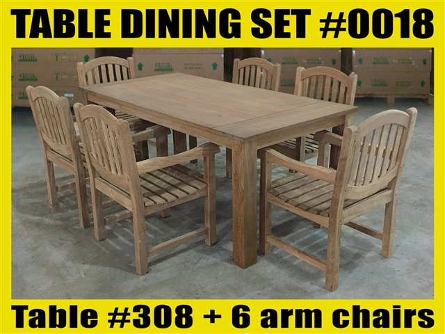"Reclaimed 79"" Teak Table SET #0018 w/ 6 Manchester Arm Chairs"