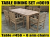 Reclaimed Teak Table SET #0019 w/ 6 Shelia Classic Folding Arm Chairs