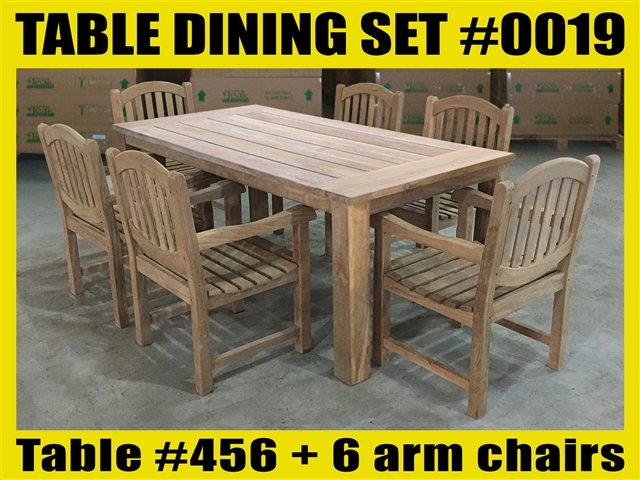 "Reclaimed 79"" Teak Table SET #0019 w/ 6 Shelia Classic Folding Arm Chairs"