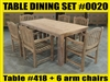 Reclaimed Teak Table SET #0020 w/ 6 Shelia Classic Folding Arm Chairs