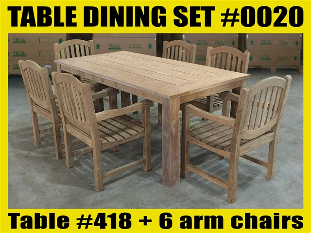 "Reclaimed 79"" Teak Table SET #0020 w/ 6 Shelia Classic Folding Arm Chairs"