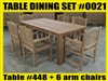 Reclaimed Teak Table SET #0021 w/ 6 Manchester Arm Chairs