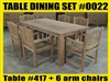 Reclaimed Teak Table SET #0022 w/ 6 Sumbawa Arm Chairs