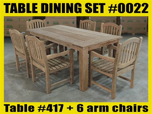 "Reclaimed 79"" Teak Table SET #0022 w/ 6 Manchester Arm Chairs"