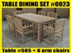 "Reclaimed 79"" Teak Table SET #0023 w/ 6 Sumbawa Arm Chairs"